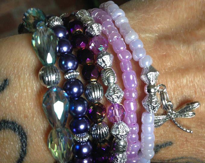 Purple haze stretch stack bracelets
