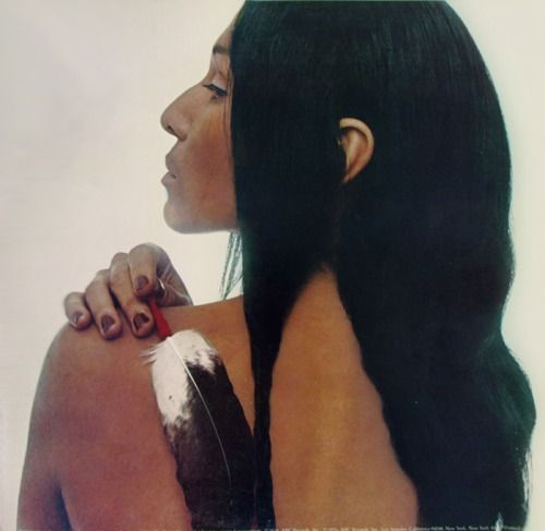 "♫ teacakes: via buffy-sainte-marie: Buffy Sainte-Marie on the back cover of her twelfth studio album, ""Sweet America"" (1976). Everyone should know about Buffy. ♫"