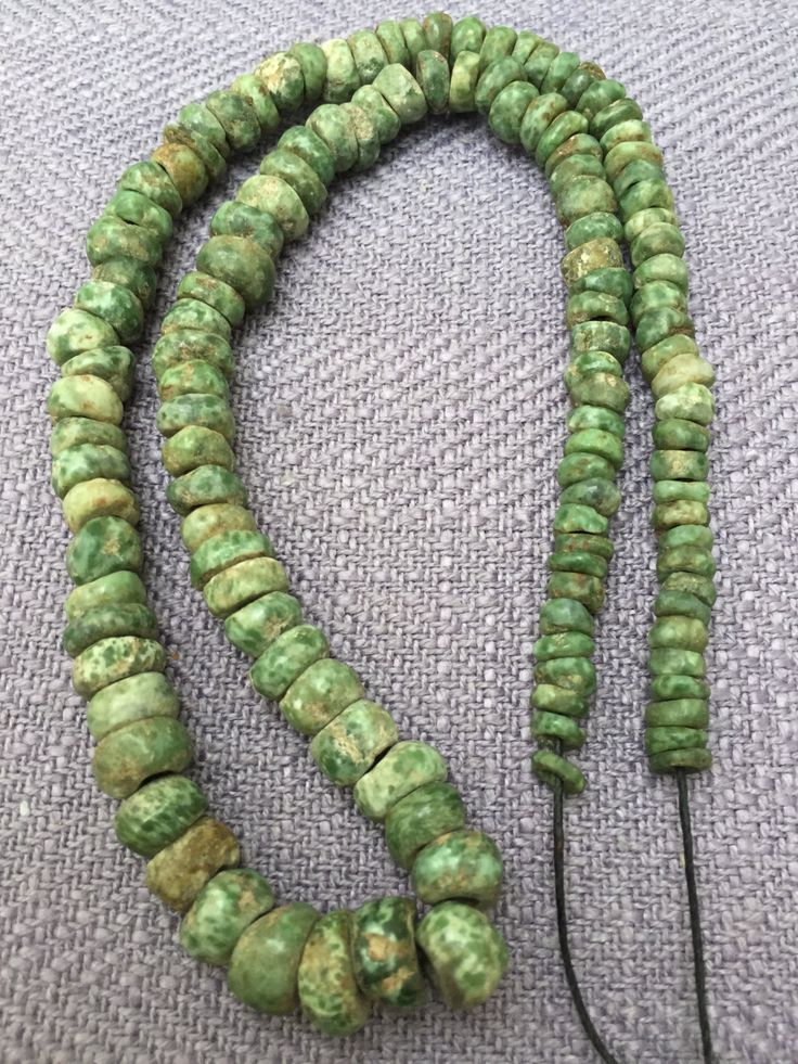 Precolumbian Jade or green stone Spherical Beads Necklace . by ARTESANOSMEX on Etsy