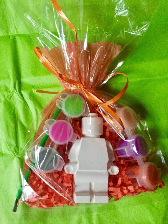 Lego inspired party favors. Lego party activity. 4 tall