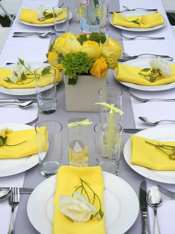 286 best yellow wedding dresses decor accessories and for Table linen color combinations