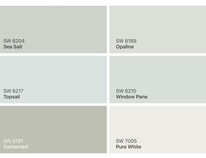 Calming Paint Colors by Sherwin Williams. SW 6204 Sea Salt.  SW 6189 Opaline.  SW 6217 Topsail. SW 6210 Window Pane.  SW 6191 Contented. SW 7005 Pure White.