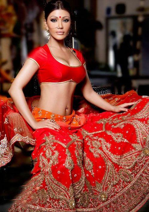 Koena Mitra Wearing A Vibrant Red #Lehenga.
