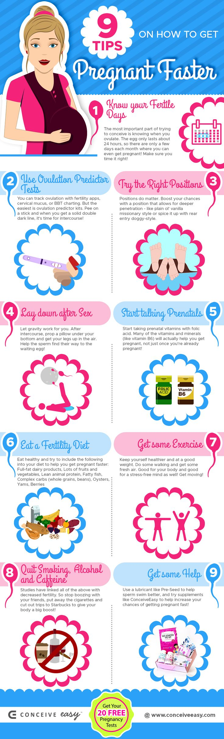 9 Tips on How to Get Pregnant Faster Infographic