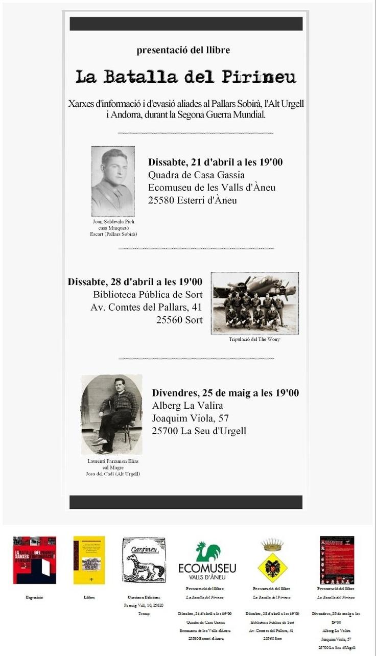 Cartell de les presentacions del llibre La Batalla del Pirineu
