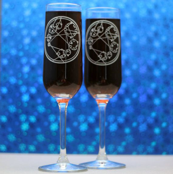 """Champagne flutes with your names in Circular Gallifreyan: 