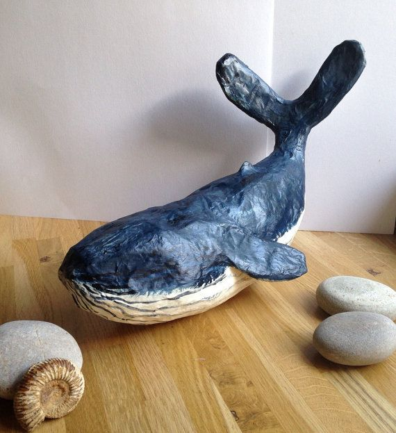Blue Whale Paper mache sculpture by natlovesrooby on Etsy
