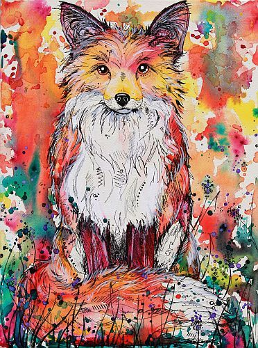 """""""Autumn Fox"""" Acrylic and Marker on Stretched Canvas, 45cm x 60cm by artist Eve Izzett. See her portfolio by visiting www.ArtsyShark.com"""