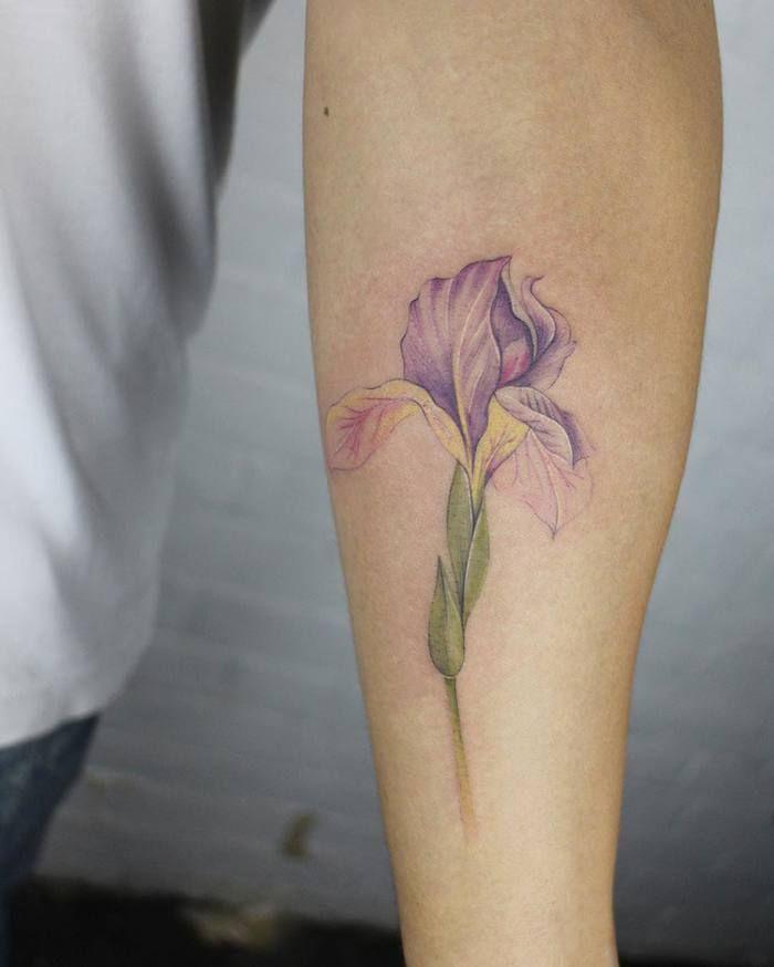 Purple Iris Flower Tattoo by __jesschen__