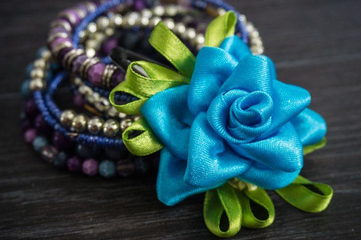 flower hair pin https://www.facebook.com/forsuol/ #fabricflower #satinflower #flower #handmade