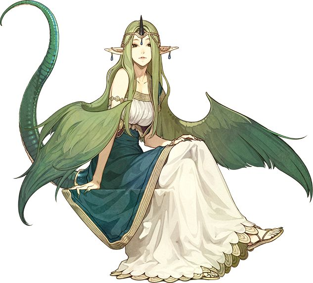1girl bare_shoulders bracelet breasts circlet cleavage dragon_tail earrings fire_emblem fire_emblem_echoes:_mou_hitori_no_eiyuuou full_body green_eyes green_hair hidari_(left_side) horn jewelry long_hair mila_(fire_emblem) nail_polish official_art pointy_ears sandals sitting solo tail teeth transparent_background very_long_hair wings