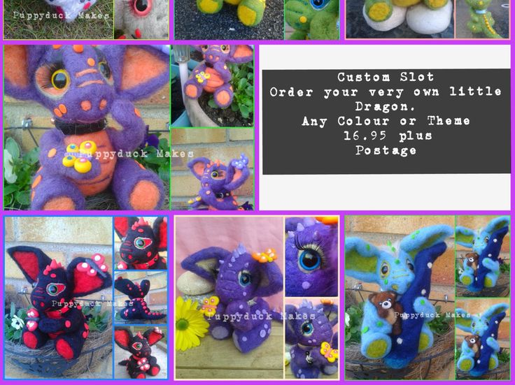 "Custom Slot for a Handmade Needle Felt Dragon 6"" by PuppyduckMakes on Etsy"