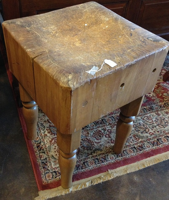 butcher block table by via flickr