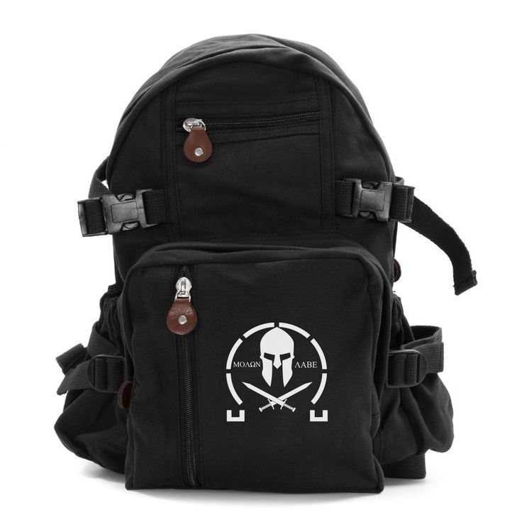 "Molon Labe Spartan Crossed Swords Army Sport Heavyweight Canvas Backpack Bag in Black & White, Small. GREAT EVERYDAY BAG: Large Main Compartment, big enough to fit a Laptop (up to 12"" inches: Small bag & 15"" inches: Large bag), 3 Front Zipper Pouches, perfect for personal items, and small accessories, and 2 Side Pockets with elastic and tie down straps, great for water bottles, car keys, and wallet. Perfect for school, traveling across campus and even a work bag. PERFECT MULTIFUNCTIONAL..."