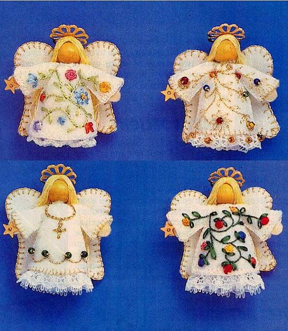 Vintage Teeny Tiny Felt Angel Ornaments Sewing by allsfairyvintage