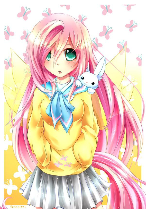 MLP Gakusei : Fluttershy by Fenrixion  on http://fenrixion.deviantart.com/gallery/?catpath=%2F&q=MLP