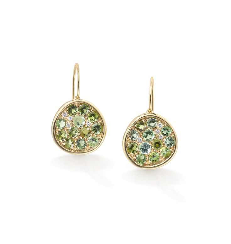 Pomegranate earrings set with green tourmaline and diamonds in yellow gold