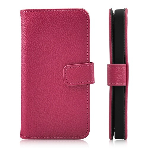 Luxury Litchi Grain Wallet Leather Magnetic Flip Case For iPhone 5 - Magenta