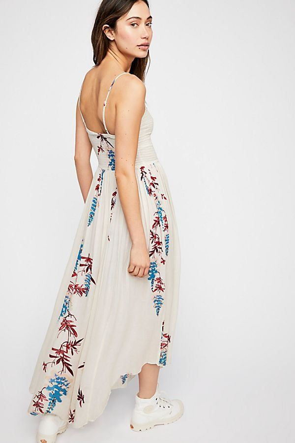 588268d643614 Beau Smocked Printed Slip - Smocked Off-White Maxi Slip Dress with Tropical  Floral Print