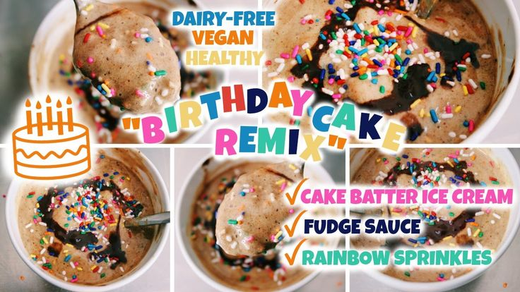 "Vegan Cake Batter Ice Cream! (& Birthday Cake Remix) - Party in my Plants // I was OBSESSED with their ""birthday cake remix"" ice cream sundae,  a shmushed symphony of: cake batter ice cream rainbow sprinkles chocolate fudge brownie bites and I just knew that THIS WAS THE YEAR to re-create it – HEALTHFULLY."
