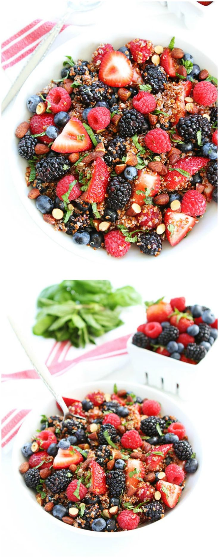 Berry Quinoa Salad Recipe on twopeasandtheirpod.com This healthy fruit salad is perfect for summertime!