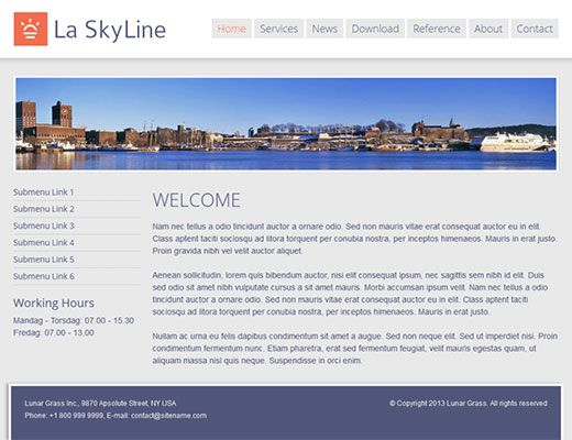 Template 009: La Skyline Modern website templates.  Create your own free webpage.  #template #webdesign #hosting #blog #resources