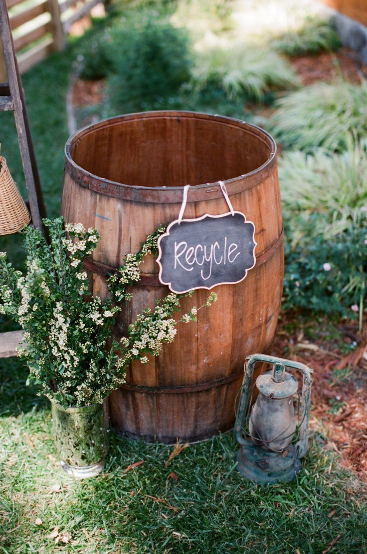 #recycle Photography by lanedittoe.com Design + Planning by joyfulweddingsandevents.com Floral Design by modern-bouquet.com  Read more - http://www.stylemepretty.com/2013/02/06/california-backyard-wedding-from-joyful-weddings-and-events/