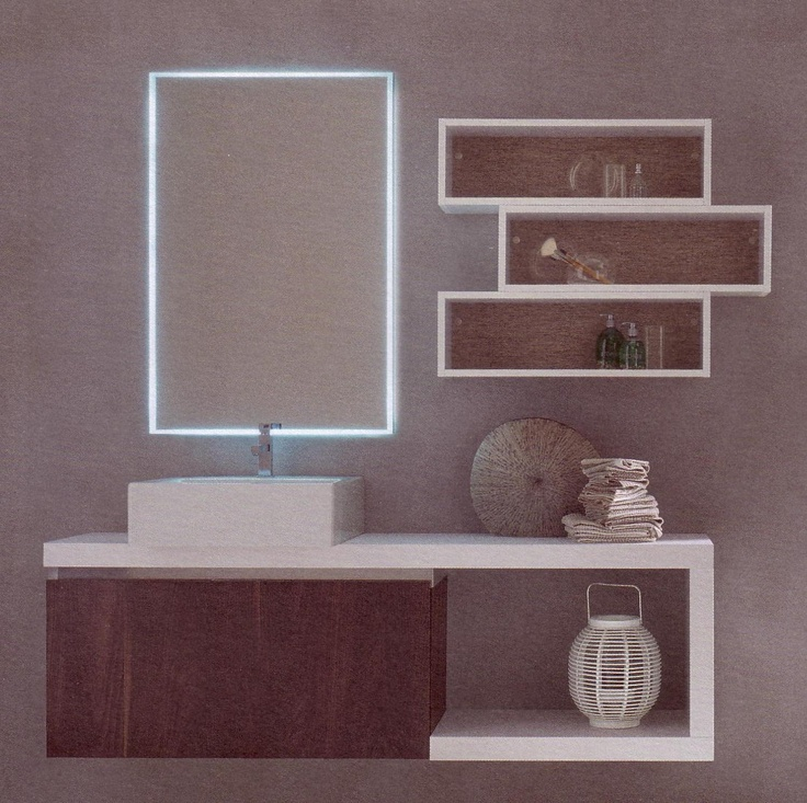 Body and front in dark yosemite, washbasin in ceramics, mirror with led light: choose your style!