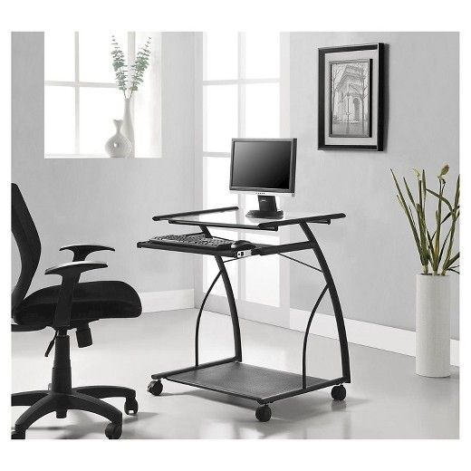 Sheldon Mobile Computer Desk - Black - Ameriwood Home : Target