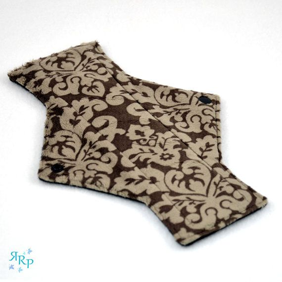 Cloth Menstrual Pad, Mama Cloth, Minky, Sanitary, Feminine, Reusable, Maternity, Mamma, Light Day Damask Cappuccino