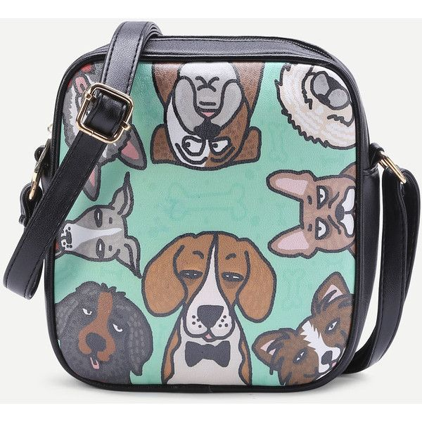 Dog Print PU Crossbody Bag With Adjustable Strap (505 UAH) ❤ liked on Polyvore featuring bags, handbags, shoulder bags, pu handbags, green purse, green cross body purse, green shoulder bag and crossbody shoulder bag