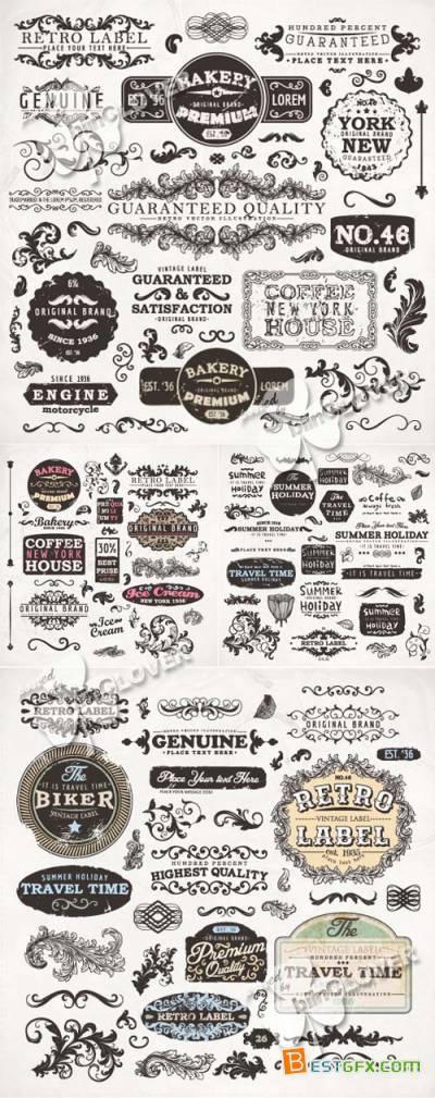 Vintage label and design elements set