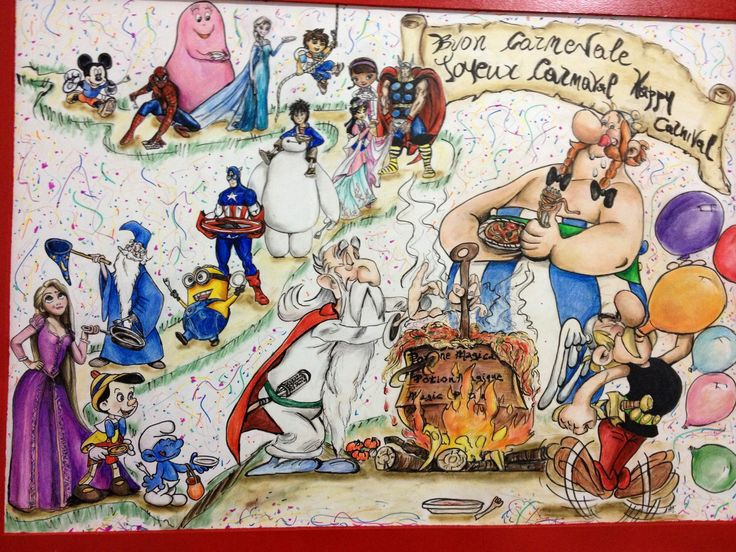 Happy Carnival with Asterix and the heroes of childhood. Made for the Florence French School Victor Hugo. Coloured pencils and panpastel on paper. Arual Jay. #Asterix #Obelix #Panoramix #Carnival