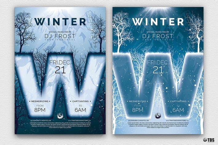 Minimal Winter Flyer Template #season #party \u2022 Download here →
