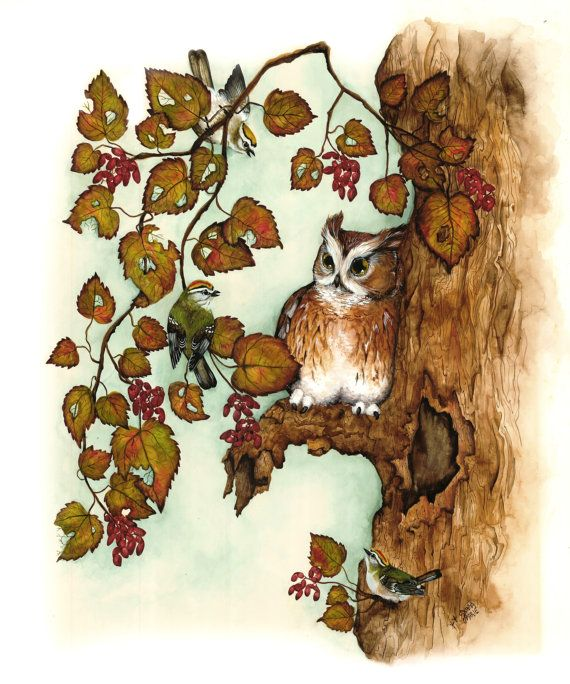 Watercolor Print  Owl Art Painting  Bird Art by DonnasWatercolors, $10.00