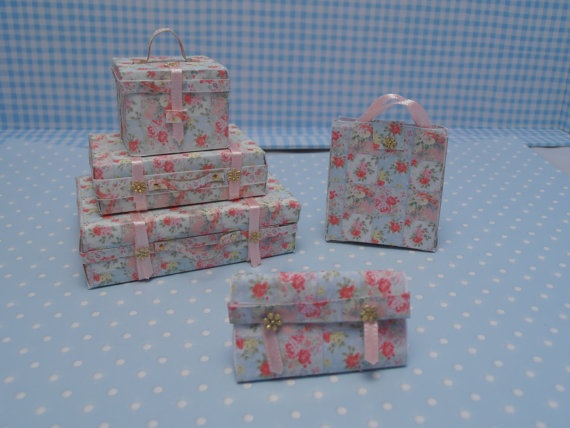 Gaël Miniature Romantic luggage 5 pc-shabby chic suitcases