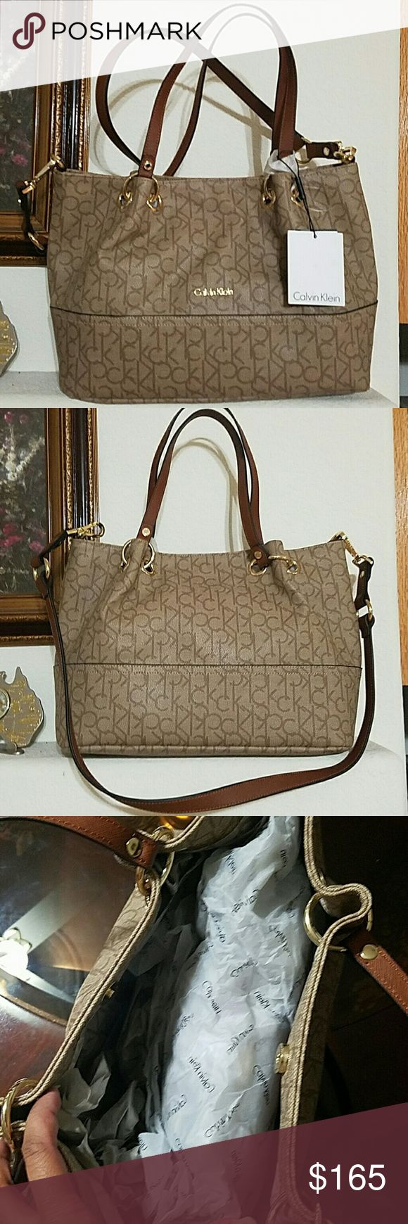 Calvin Klein Handbag Beautiful brand new with tag Calvin Klein Klein leather handbag. Interior features 1 zip pocket and 2 slip pockets. Magnetic snap closure. Gold tone hardware. No stains or damages. 100% authentic. Approx measurements provided. Calvin Klein Bags