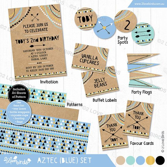 Modern Aztec Blue Printable Set by 2LoveBirdsDesign on Etsy