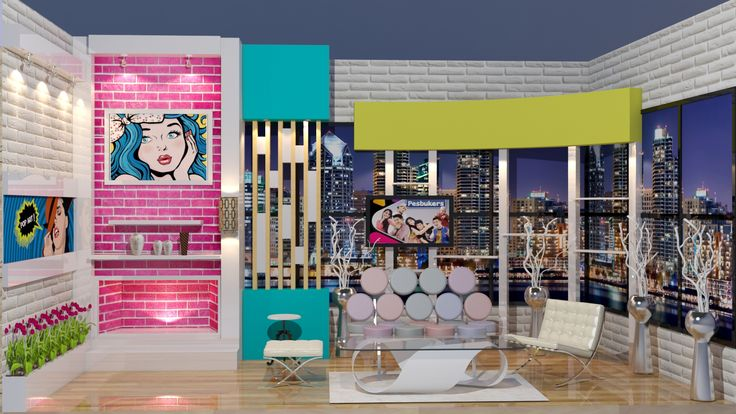 Chic apartment talkshow set - concept rendering