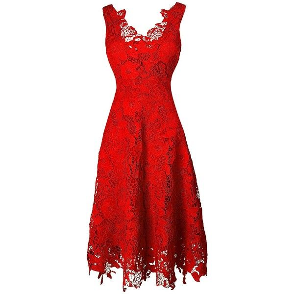 KIMILILY Women's V neck Elegant Floral Lace Swing Bridesmaid Dress ($33) ❤ liked on Polyvore featuring dresses, lace cocktail dress, v-neck dresses, v neck cocktail dress, red bridesmaid dresses and v neck dress