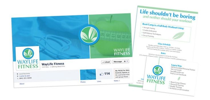 Waylife Fitness Personal Trainer : Sarasota, FL   Facebook page, business cards, postcards