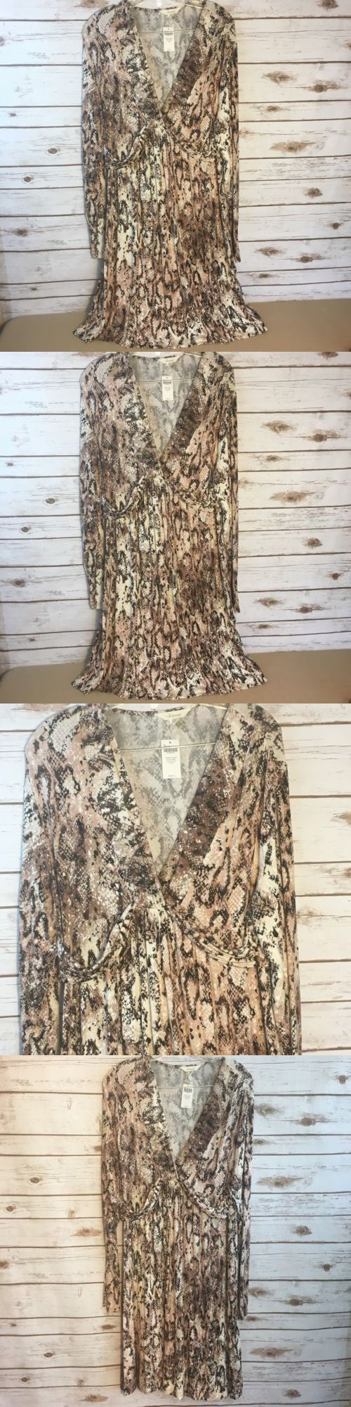clothing and accessories: Soma Women S Brown Python Knotted Empire Long Sleeve Short Dress Size Xl -> BUY IT NOW ONLY: $35.99 on eBay!