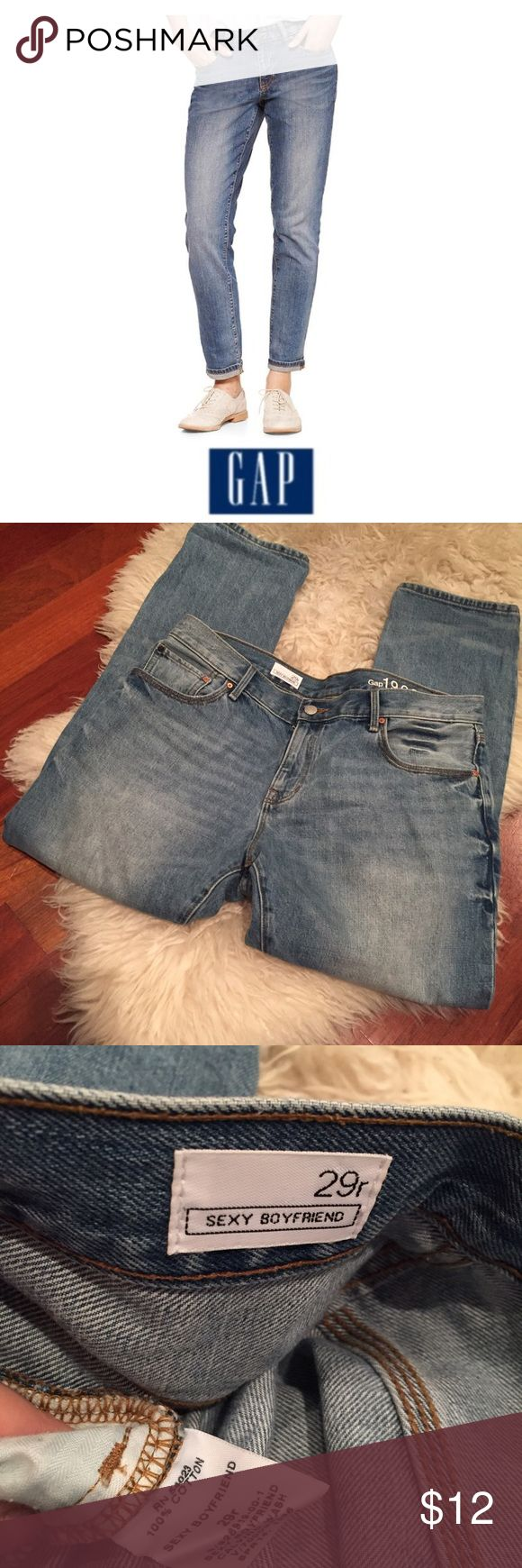 GAP Women's High Rise Sexy Boyfriend Jeans GAP Women's High Rise Sexy Boyfriend Jeans. 10.5 inch rise. 28 inch inseam, can also be worn cuffed. Size 29 which is an 8. Gently worn. Great condition. Feel free to make an offer or bundle & save! GAP Jeans Boyfriend