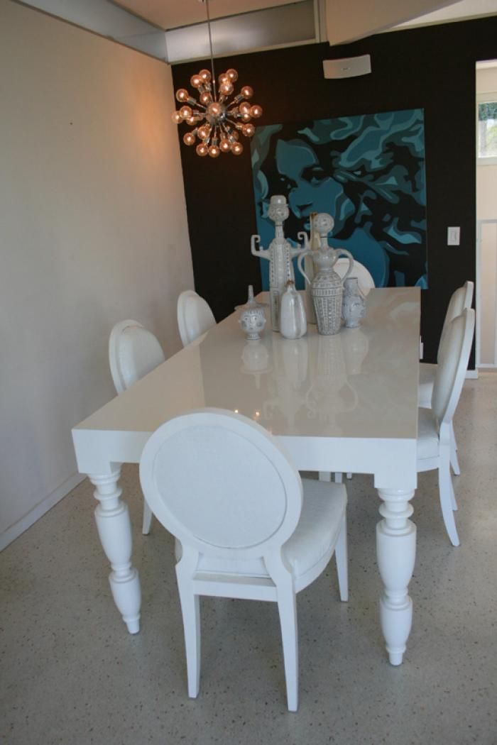 Hollywood Dining Table In Autobody White Modern Dining Tables