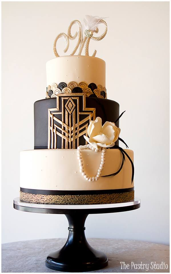 Black Wedding Cake Gatsby Art Deco Design By The Pastry Studio Daytona Beach Florida