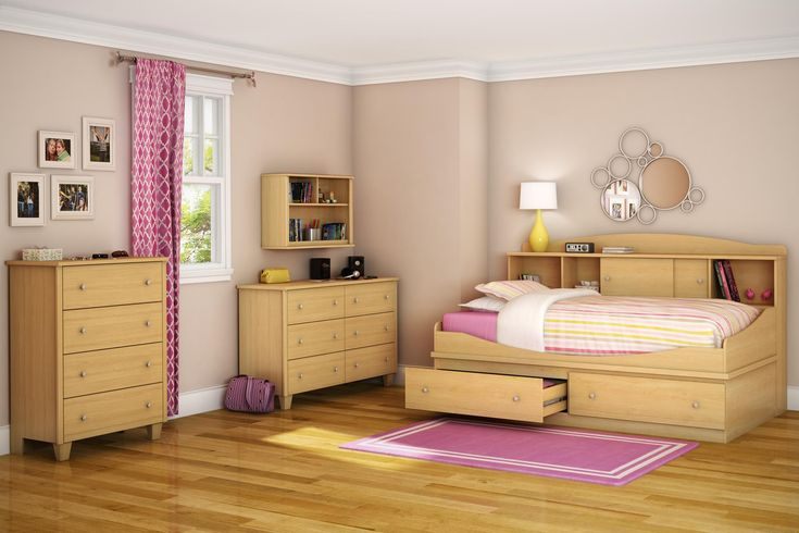 Awesome Twin Bedroom Set with Wooden Bookcase Daybed and Drawers