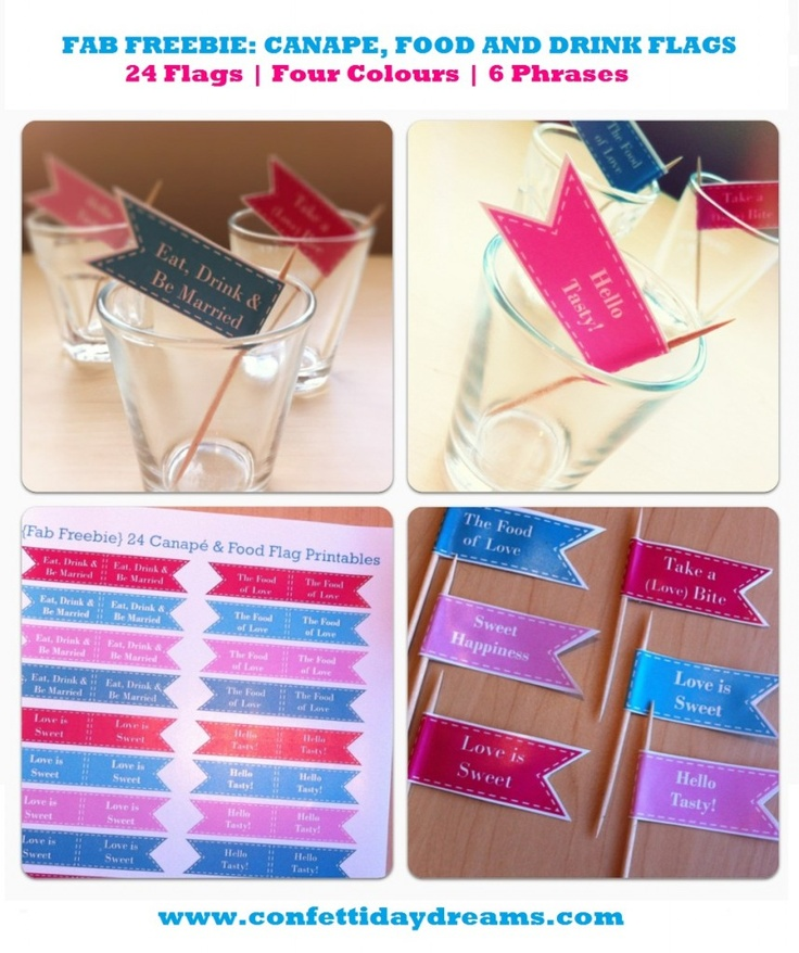 24 Food Flags, Canapé Sticks & Drink Flags Free Printables   Confetti Daydreams