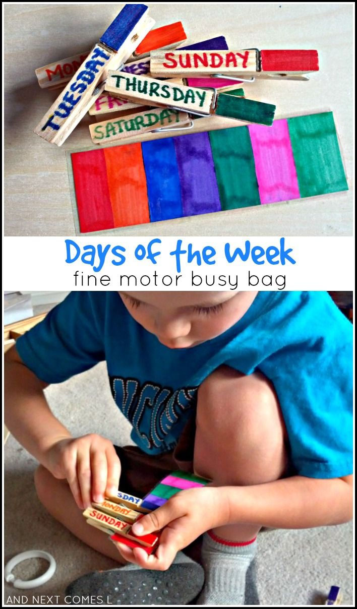 Fine motor busy bag idea for kids to learn the days of the week from And Next Comes L