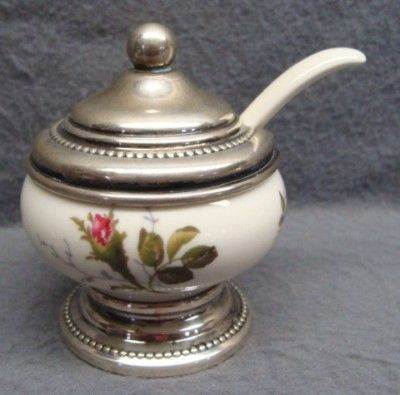 Moss Rose Ivory Pompadour: Mustard Pot with Sterling Silver Trim.