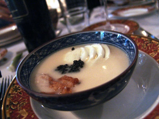 White asparagus veloute with enoki mushrooms and boiled egg | Food ...